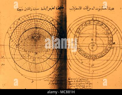 Astrology  Astrolabes The book of making an Astrolabe an Arabic manuscript dated 1641 with  interesting diagrams of the various components of the astrolabe - Stock Photo
