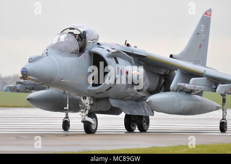 BAe Harrier jet plane at RAF Cottesmore on their last day of operations after being prematurely scrapped by the David Cameron Tory Government. Fighter - Stock Photo