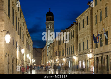 Stradun (Placa) with Franciscan Monastery, old town, Dubrovnik, Croatia - Stock Photo