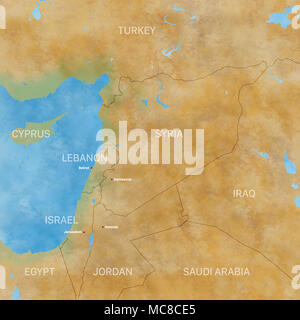 Syria map physical map hand drawn illustrated Stock Photo