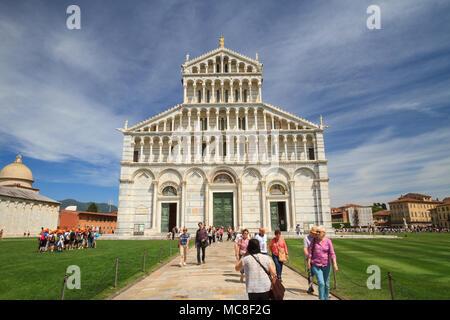 Pisa, May 2017: Square of Miracles with Cathedral (duomo di Santa Maria Assunta), on May 2017 in Pisa, Tuscany, Italy - Stock Photo