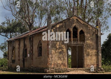 Church near malanje, Angola, Africa, Portuguese colonial time church. - Stock Photo
