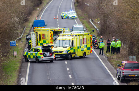 South East Ambulance & Sussex Police attend an accident on the A27 involving 3 motorcyclists