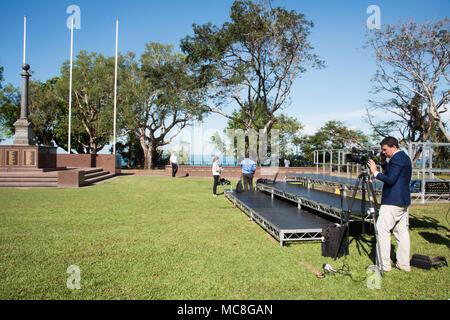 Darwin,NT,Australia-April 10,2018: News reporter setting up camera at Bicentennial Park for Royal Visit in Darwin, Australia - Stock Photo