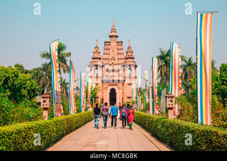 Varanasi, India - November 23, 2017 : Mulagandha Kuti Vihara Sarnath ancient ruins - Stock Photo