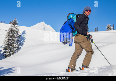 Backcountry skiing in Rhone Alpes of France on one of the closest summits to Seez village - Clopet. - Stock Photo