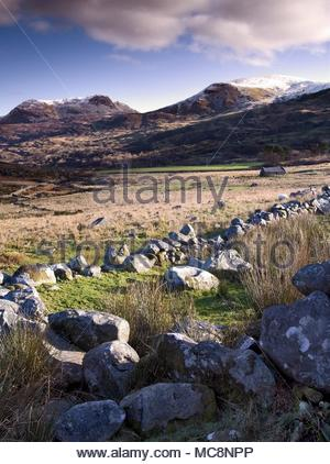 A winter view of the Snowdonia Nnnnnational Park looking towards Rhinogydd, the Rhinog Mountains, in North Wales. - Stock Photo