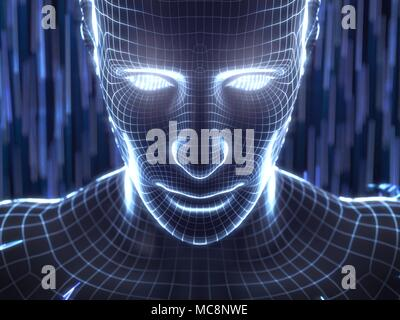 artificial intelligence concept with virtual human avatar. 3d illustration. suitable for technology, artificial intelligence, data mining,deep learnin - Stock Photo