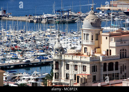 The port of Alicante, Spain, is home to hundreds of yachts and boats - Stock Photo