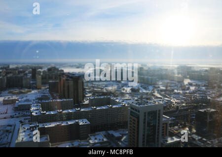 Residential buildings in Nur-Sultan, Kazakhstan, at -24 degrees Celsius - Stock Photo