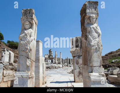 Hercules gate in the ancient city of Ephesus in Turkey. - Stock Photo