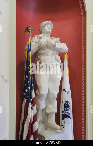 Statue Honoring the US Coast Guard and Merchant Marine, Interior of the Rhode Island State House in Providence, RI, USA - Stock Photo
