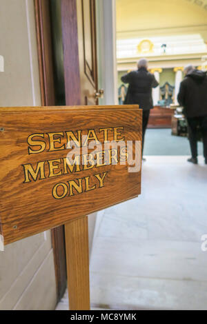 'Senate Members Only' Sign, Interior of the Rhode Island State House in Providence, RI, USA - Stock Photo