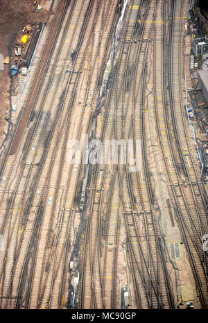 Newly repaired railway tracks outside London Bridge station, seen from above - Stock Photo