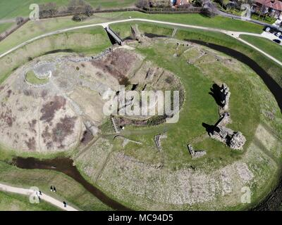 Aerial photos of Sandel Castle in Wakefield in the UK, the ruins of the castle have a moat around the castle grounds, it's also covered in green grass - Stock Photo