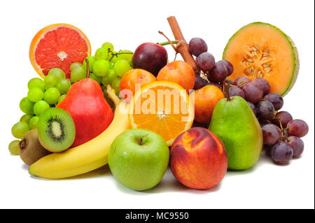 arrangement of fresh fruits from market and isolated over white background - Stock Photo