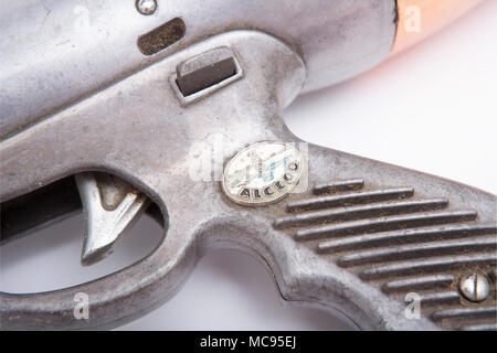 An Italian Alcedo Hydra pneumatic speargun probably made in the 1960s. Picture shows detail of the trigger, safety catch and logo. Dorset England UK - Stock Photo