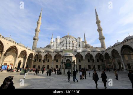 View of the courtyard of the Sultan Ahmed Mosque in Istanbul, Turkey, popularly known as the Blue Mosque - Stock Photo