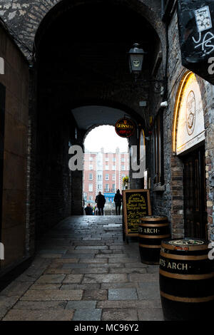 April 12th, 2018, Dublin, Ireland - The Merchants Arch in Temple Bar district, located on the southbank of the River Liffey, - Stock Photo