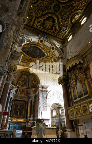 Highly decorative interior of the Duomo or Cathedral in Amalfi, Italy - Stock Photo