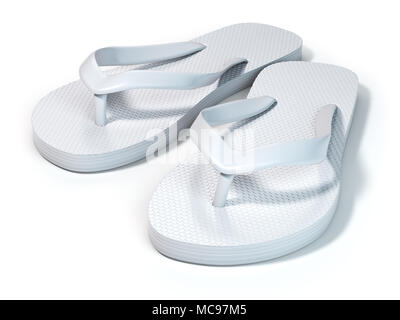 34f44646d White flip flops isolated on white background. 3d illustration - Stock Photo