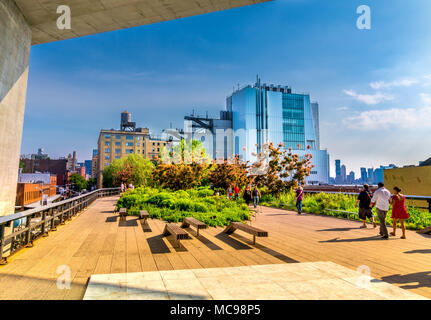 Manhattan, New York City - June 14, 2017: The High Line Park in Manhattan New York. The urban park is popular by locals and tourists built on the elev - Stock Photo