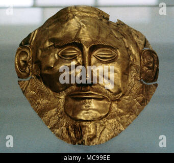 Mask of Agamemnon, gold funerary mask. Mycenaean funerary mask of an unknown Myceanean ruler, 16th century BC (ca.1550 BC), found in Tomb V, Grave Circle A at Mycenae. National Archaeological Museum. Athens, Greece. - Stock Photo