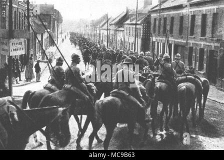 French cavalry passes a locality near the Somme (July 16th, 1916). - Stock Photo