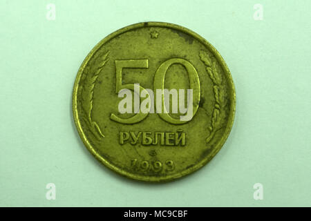 50 Old Russian ruble on a white background - Stock Photo