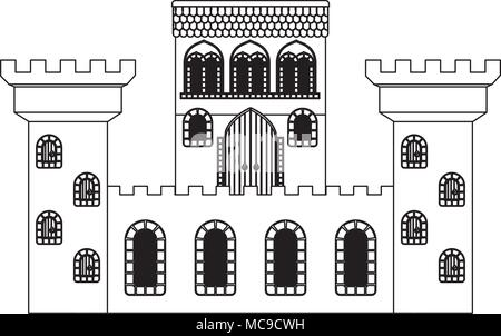 medieval castle isolated icon - Stock Photo