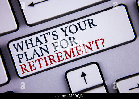 Word writing text What IS Your Plan For Retirement Question. Business concept for Thought any plans when you grow old written White Keyboard Key with  - Stock Photo