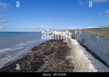 aerial vier of birling gap and the seven sisters on the sussex coast by drone - Stock Photo