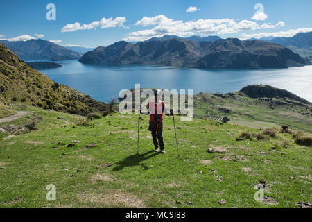 Tremendous views of Lake Wanaka and Mount Aspiring from Roy's Peak, Wanaka, New Zealand - Stock Photo