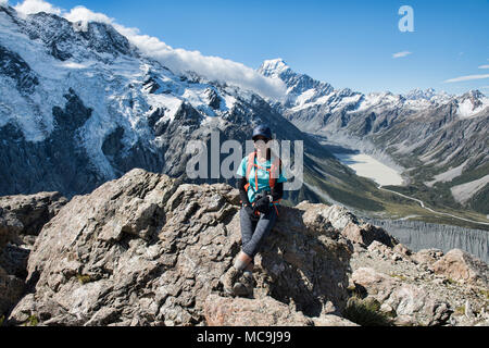 Looking over the Hooker Valley and Mount Cook, Southern Alps, New Zealand - Stock Photo