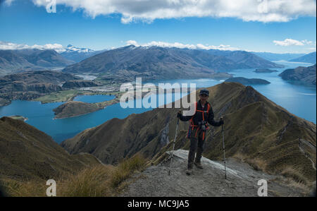 Tremendous views of Lake Wanaka from Roy's Peak, Wanaka, New Zealand - Stock Photo