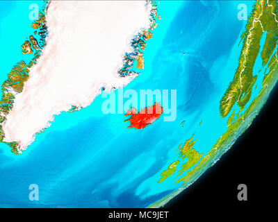 Iceland from space highlighted in red stock photo 169262636 alamy map of iceland in red as seen from space on planet earth with white borderlines gumiabroncs Gallery
