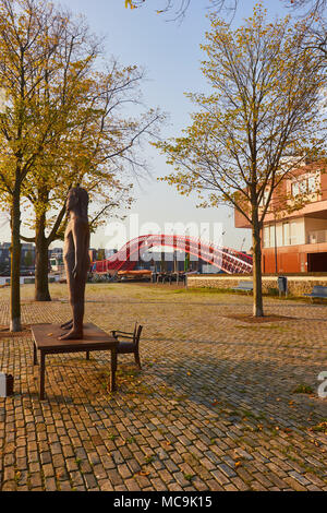 Sculpture near Python Bridge (Pythonbrug), Oosterdokseiland (eastern docklands), Amsterdam, Netherlands. Stock Photo
