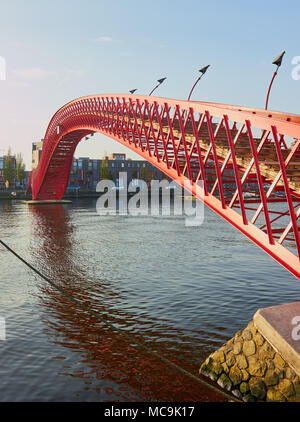 Python Bridge (Pythonbrug), Oosterdokseiland (eastern docklands), Amsterdam, Netherlands. Stock Photo