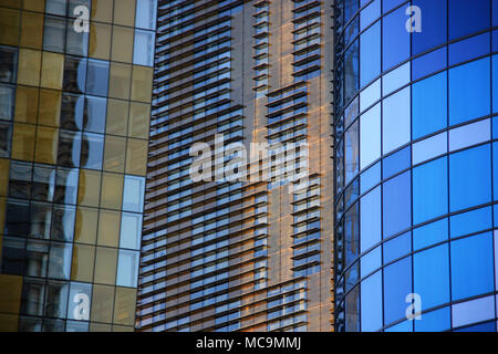 Stunning glass facade of the Veer Towers at the CityCenter Las Vegas in Las Vegas, NV, USA - Stock Photo