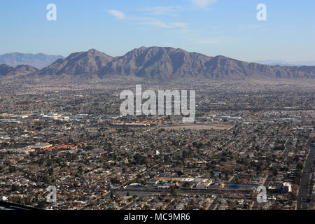 Aerial view of the residential areas of the city of Las Vegas, NV, apart from the strip. Seen from the Stratosphere Tower. - Stock Photo