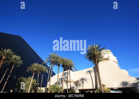 Exterior view of the Great Sphinx of Giza replica in front of the black pyramid hotel complex of the Luxor Las Vegas Hotel and Casino, Las Vegas, NV - Stock Photo