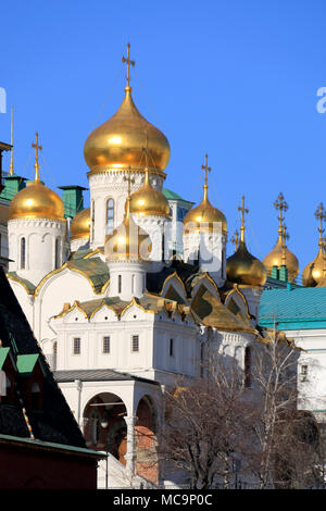 Golden domed Cathedral of the Annunciation inside the Kremlin in Moscow - Stock Photo