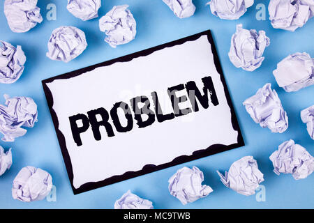 Word writing text Problem. Business concept for Trouble that need to be solved Difficult Situation Complication written White Sticky note paper within - Stock Photo
