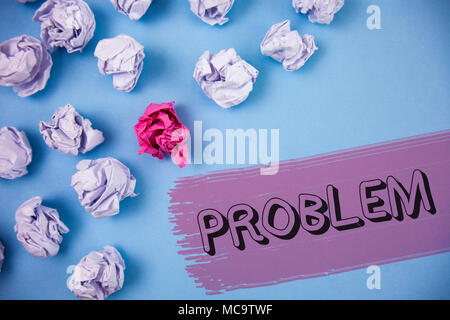 Word writing text Problem. Business concept for Trouble that need to be solved Difficult Situation Complication written the Painted background Crumple - Stock Photo
