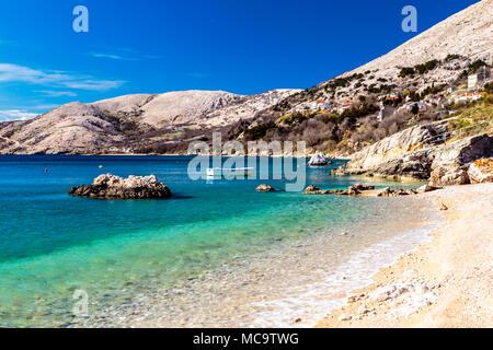 Summer day near Stara Baska village in Krk Island - Stock Photo