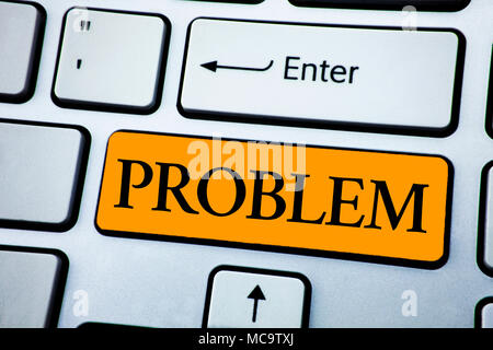 Handwriting text Problem. Concept meaning Trouble that need to be solved Difficult Situation Complication written Orange Key Button White Keyboard wit - Stock Photo