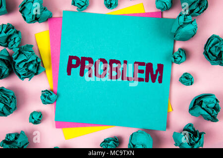 Handwriting text Problem. Concept meaning Trouble that need to be solved Difficult Situation Complication written Sticky Note Paper plain background C - Stock Photo