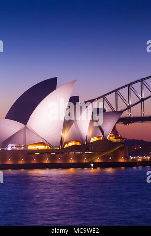 Sydney Opera House and Sydney Harbour Bridge, in Australia, with copy space for editorial layout. - Stock Photo