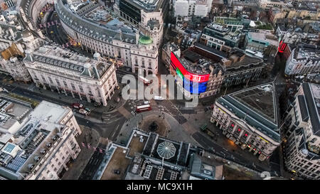London's Iconic Square Piccadilly Circus Aerial View Famous Landmark Road Junction Piccadilly Lights feat. London Streets in England United Kingdom UK - Stock Photo