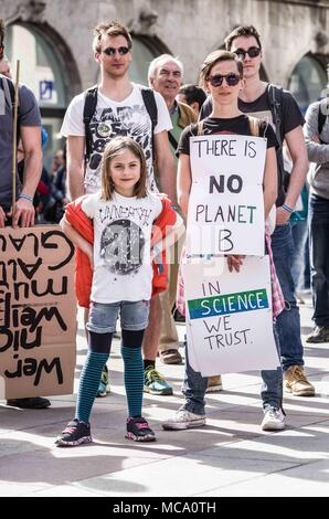 Munich, Bavaria, Germany. 14th Apr, 2018. On April 14, 2018, Munich held its second March for Science event, with the event beginning at Koenigsplatz and ending at the famed Marienplatz. Credit: ZUMA Press, Inc./Alamy Live News - Stock Photo